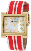 Pedre Women's 6012GX Gold-Tone/ Red-White Stripe Grosgrain Strap Watch