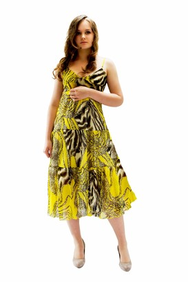 Entire Empire Yellow Ladies Summer Dress Sleeveless - Size 8 10 - Long Dresses for Women UK Soft Light - Woman Casual Elegant Holiday - Beach Party Seaside Beachwear
