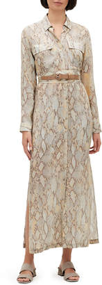 Lafayette 148 New York Doha Sindewinder Snake-Print Long-Sleeve Belted Dress