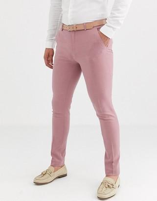 ASOS DESIGN wedding super skinny suit pants in crosshatch in rose pink