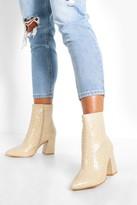 boohoo Wide Fit Croc Block Heel Boots