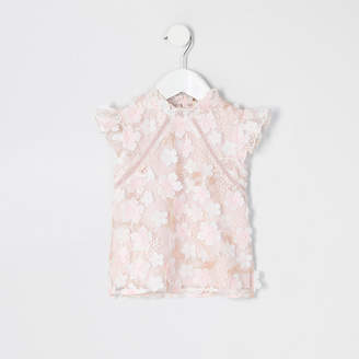 River Island Mini girls pink flower lace embellished top