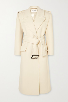 Saint Laurent Belted Wool Coat - Ivory