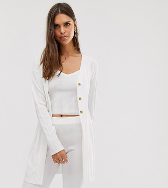 Micha Lounge cardigan in wide rib knit co-ord-White