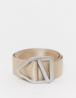 ASOS DESIGN slim long ended belt in beige webbing with silver slider buckle