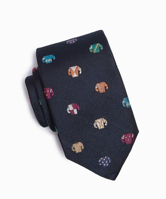 Drakes Jockey Silk Tie in Navy