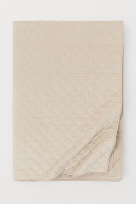 H&M Quilted Velvet Bedspread - Beige