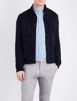 Ralph Lauren Purple Label Contrast-front suede and knitted jacket