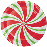 Peppermint Party Paper Plates - Set of 24