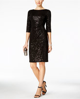 Vince Camuto Ruched Sequined Sheath Dress