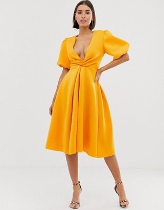 Asos Design DESIGN bubble sleeve twist detail midi prom dress-Yellow