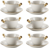 Villari - Teacup and Saucer - Set of 6 - White & Antique Gold