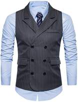 K-Men Men's Plus Size Double Breasted 6 Button Classic Formal Waistcoat Grey XXL