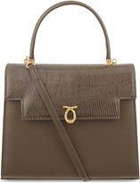 Launer Traviata calf & lizard leather tote