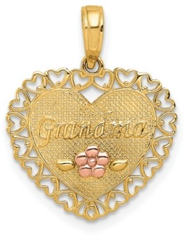 Macy's Grandma Heart Charm in 14k Yellow and Rose Gold