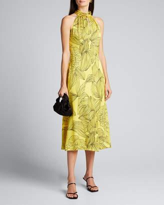 Milly Adrian Printed Midi Halter Dress