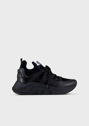 Giorgio Armani Leather Sneakers With Crossed Laces And Velvet Inserts