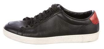 Gucci Leather Snake-Trimmed Sneakers
