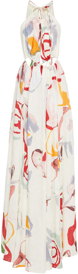 Cult Gaia Aphrodite Printed Linen Halter Maxi Dress