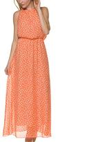 Peach Floral Chiffon-Overlay Blouson Dress
