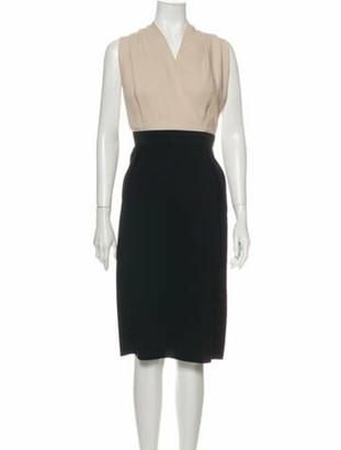 Lanvin Colorblock Pattern Midi Length Dress Black