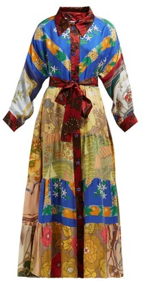 RIANNA + NINA Vintage Patchwork Belted Silk Maxi Shirt Dress - Multi