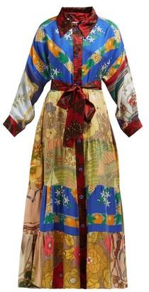 Rianna + Nina - Vintage Patchwork Belted Silk Maxi Shirt Dress - Womens - Multi