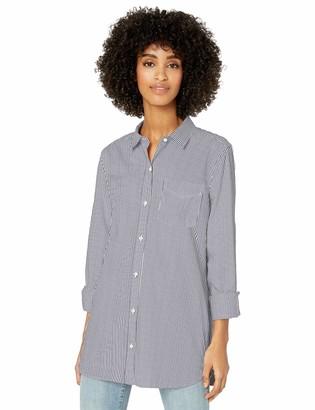 Goodthreads Lightweight Twill Long-sleeve Button-front Shirt Navy/White Stripe L