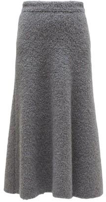 Gabriela Hearst Pablo Cashmere Blend Boucle A Line Skirt - Womens - Dark Grey