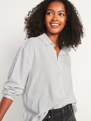 Old Navy Oversized Soft-Woven Pinstripe Tunic Shirt for Women