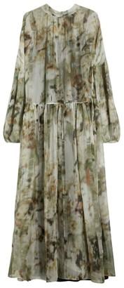 Max & Co. Printed Silk Crepe de Chine Maxi Dress