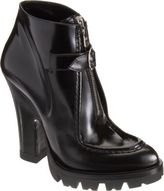 Prada Buckle-Front, Seamed Ankle Bootie