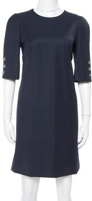 Dolce & Gabbana Navy Blue Wool Gabardine Shift Dress M