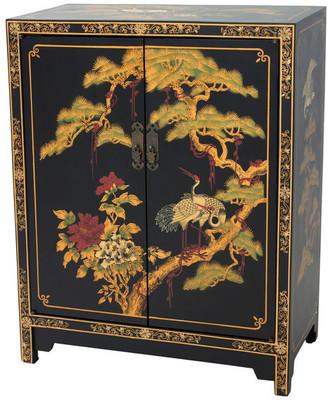Oriental Furniture Black Lacquer Cabinet