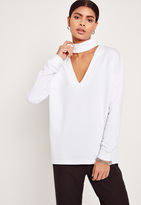 Missguided Choker Neck Sweatshirt White