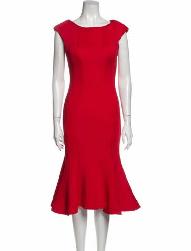 Thumbnail for your product : Jovani Bateau Neckline Midi Length Dress Red