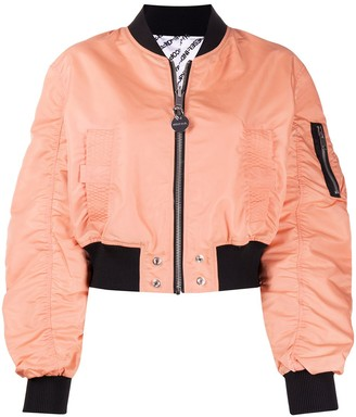 Diesel Reversible Ruched Cropped Bomber Jacket