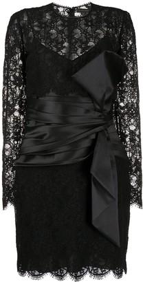 ZUHAIR MURAD Lace-Panel Midi Dress