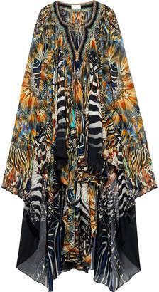 Camilla Lost Paradise Cape-back Crystal-embellished Printed Silk-chiffon Dress