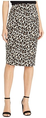 Vince Camuto Elegant Leopard Midi Tube Skirt (Rich Black) Women's Skirt