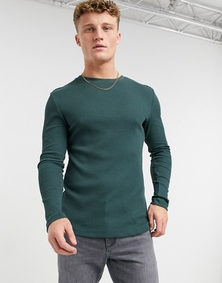ASOS DESIGN muscle fit long sleeve waffle t-shirt in dark green