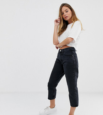 ASOS DESIGN Petite Recycled Florence authentic straight leg jeans in washed black