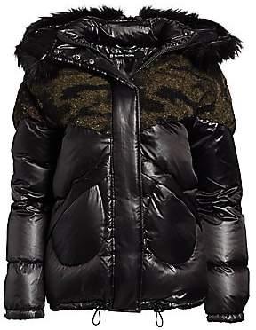 Blanc Noir Women's Camo Faux Shearling & Faux Fur Puffer Coat