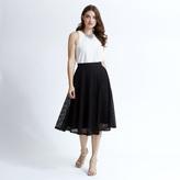 Apricot Black Mesh Skater Skirt