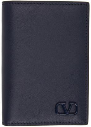 Valentino Navy Garavani VLogo Card Holder