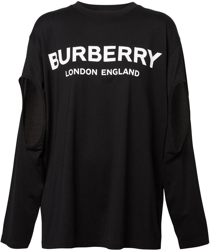 Burberry long-sleeve logo oversized T-shirt