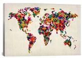 iCanvas 'World Map Hearts - Michael Thompsett' Giclee Print Canvas Art