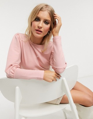 Only sweatshirt with exaggerated sleeves in pink