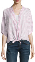 Rails Thea Short-Sleeve Striped Tie-Front Blouse, Pink Pattern