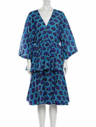 Rhode Resort Printed Midi Length Dress Blue Printed Midi Length Dress
